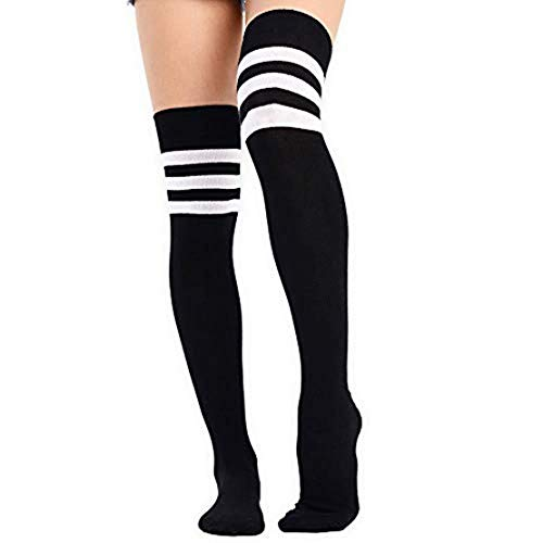 Calcetines de rayas para mujer y adolescente (negro con rayas blancas)
