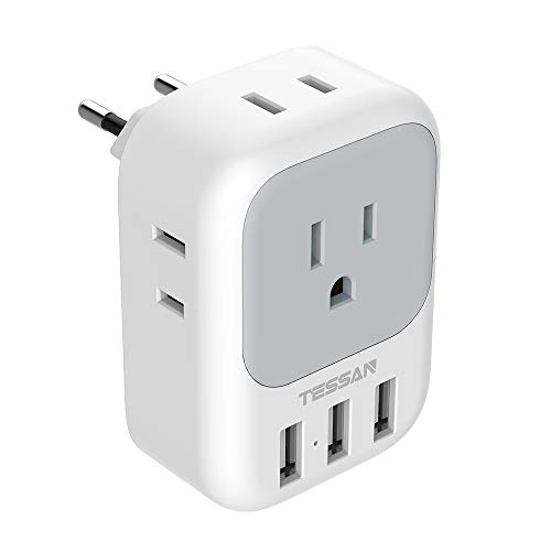 European Plug Adapter, TESSAN International Travel Power Plug with 4 AC Outlets 3 USB Ports, US to Most of Europe EU Italy Spain France Iceland Germany Greece Charger Adaptor(Type C)