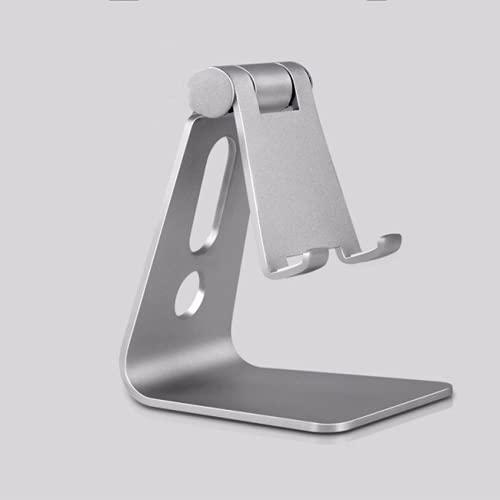 CAIER Soporte de aluminio ajustable para teléfono celular Soporte de escritorio Soporte para teléfono móvil, soporte para ángulo de altura ajustable escritorio de aluminio robusto metal hermoso plata