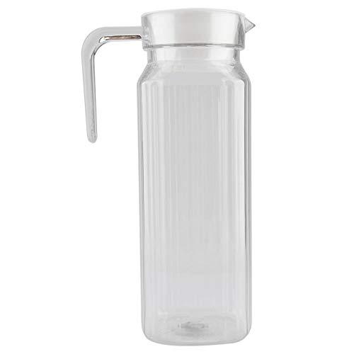 Niiyen Botella de Jugo, Jarra de Jugo Jarra de Jugo Transparente, Acrílico con Tapa Botella Agua a Rayas Jugo frío para Bar en casa, Ideal para Jugo casero y té frío(1100ml)