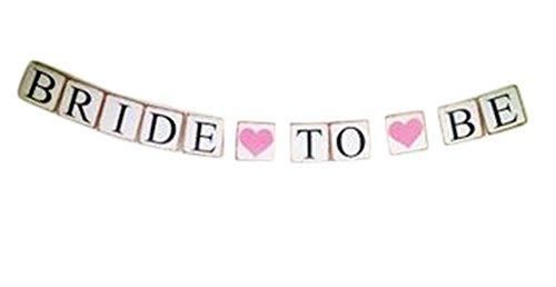 Demarkt slinger met wimpelketting, papieren vlaggen, bruiloft, verjaardag, feest, decoratie, BACHELO RETTE met 2 harten 13 x 13 x 300 cm Bride To Be met 2 hartjes
