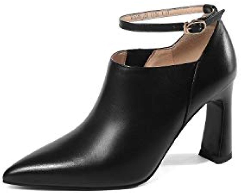 SWEAAY Stiefel Damen Leder High Heels Stiefeletten Dick Mit Spitzen Seitlichem Reiverschluss Volltonfarbe Tgliche Pendlerarbeitsschuhe