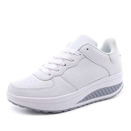 Zapatos De Plataforma Casuales para Mujer Zapatos De Vulcanización con Cordones De Punta Redonda Mocasines Simples De Oscilación De Boca Baja Zapatillas De Deporte para Caminar con Cuña