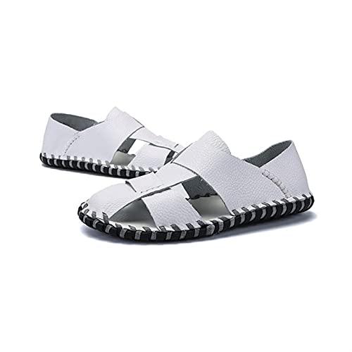 ANLEI Sandalias Hombre Resbalón de moda en sandalias para hombres de punta de acero hueco hacia fuera sin revestimiento costura a mano antideslizante transpirable liviano zapatos de playa negro, marró