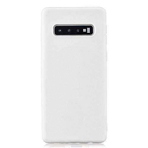 cuzz Funda para Samsung Galaxy S10 Plus+{Protector de Pantalla de Vidrio Templado} Carcasa Silicona Suave Gel Rasguño y Resistente Teléfono Móvil Cover-Blanco