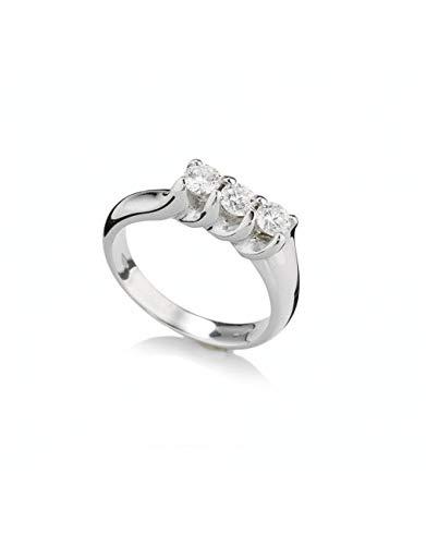 Recarlo - Anello Trilogy Oro Bianco 18 kt carati con Diamanti.