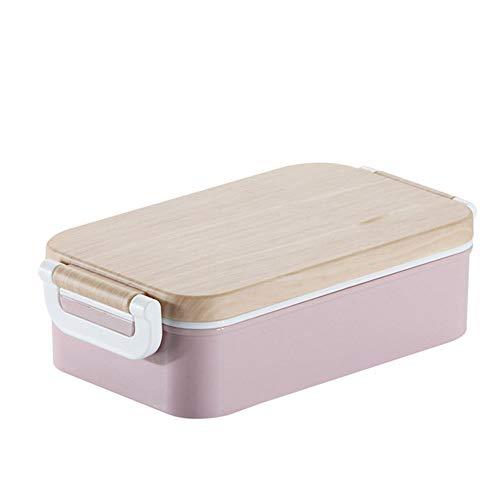 Brotdose, Kinder-Brotdose, 450 ml auslaufsichere Holz-Brotdose, Geschirrspüler/FDA-zugelassen/BPA-frei, für Kinderschule und Erwachsenenbüro,Rosa