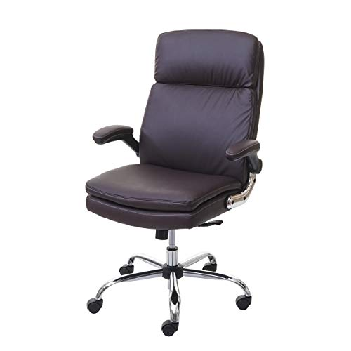 Mendler Bürostuhl HWC-F83, Schreibtischstuhl Chefsessel Drehstuhl, Federkern Kunstleder ~ braun