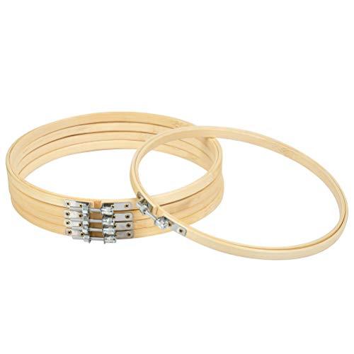 WOWOSS 5 Piezas Bastidor de Madera para Bordar 15cm, Aros de Bordado de Bambú para Punto de Cruz y Manualidades Costura a Mano