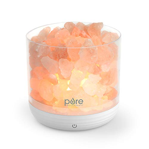 Pure Enrichment PureGlow USB Salt Lamp - Authentic Pink Himalayan Salt Rocks, Light Dimmer with 5 Levels, 2 Bulbs, and USB Power Cable