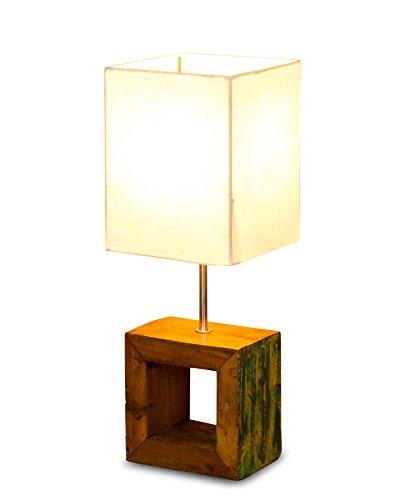 Tischlampe 16 x 45 x 16 cm Treibholz Teakholz Tischleuchte Holz Lampe Leuchte Naturholz Unikat