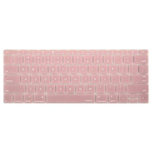 MOSISO Silicone Keyboard Cover Protective Skin Compatible with MacBook Pro 13 inch 2017 & 2016 Release A1708 Without Touch Bar, MacBook 12 inch A1534, Rose Quartz