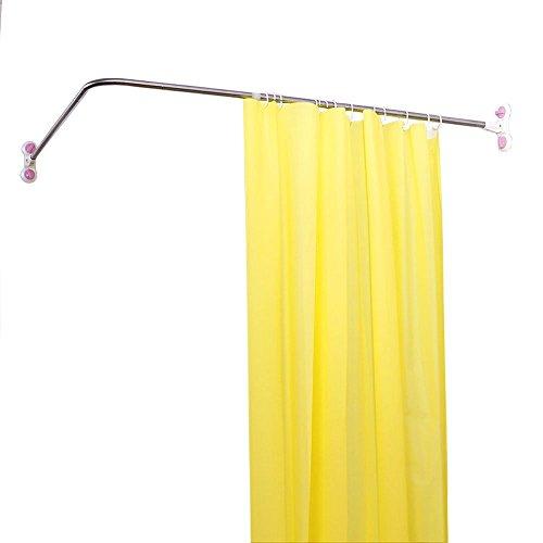 Baoyouni - Tringle de rideau de douche en forme de « L » - Extensible - Avec ventouses - En métal , L-Shaped, 102 x (118-180)cm