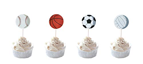 Party Hive 24pc Sports Fan [Basketball, Baseball, Soccer, Volleyball] Cupcake Toppers for Birthday Party Event Decor