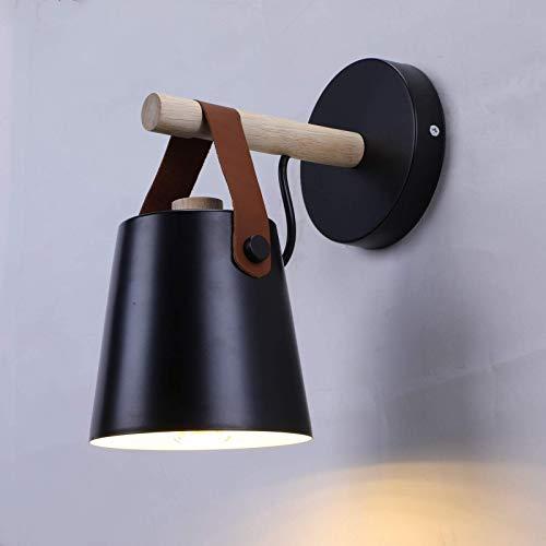 SISVIV Lámpara de Pared Nórdico Madera y Hierro Apliques Pared Industriale Vintage Rústico Interior para Cafetería Dormitorio Restaurante Escalera Mesita de Noche Negro