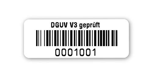 Prüfetiketten DGUV V3 geprüft, 40x15mm, hochglänzend weiß, fertig bedruckt mit 7-stelligem fortlaufendem Barcode 128B für alle gängigen Prüfgeräte. Nummernkreis 0001 001.0002 000