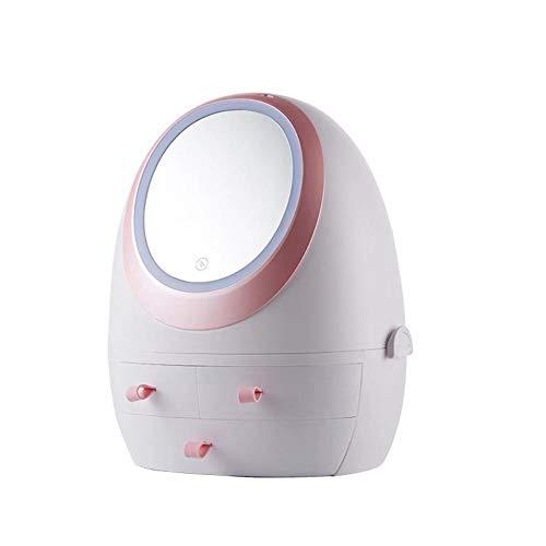 Runningfish Kosmetische Aufbewahrungsbox mit LED-Lichtspiegel, tragbarer Aufbewahrungskoffer für Kosmetika, Make-up-Bürstenhalter-Organizer