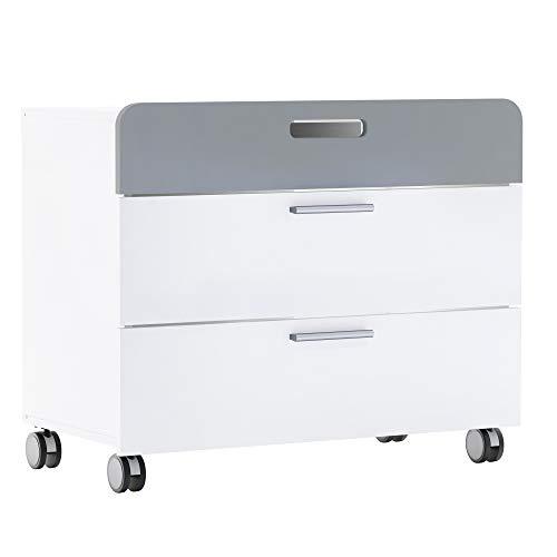 habeig Kommode auf Rollen weiß grau mit 3 Schubladen Kinderschrank Schrank