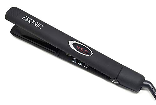Tourmaline Ceramic Hair Straightener – Infrared Flat Iron with Digital Temperature Control Smooths, Styles All Hair – Easy to Use Anti Frizz Hair Products for Women, Men – Supernova by iKonic (Black)