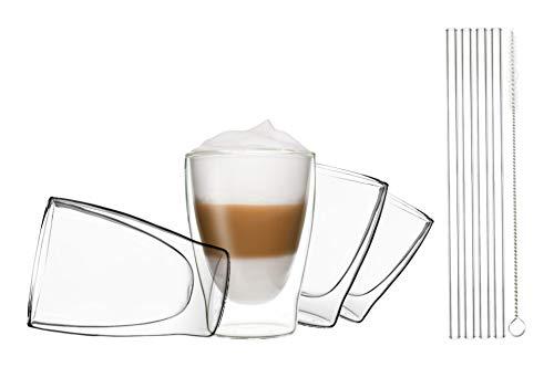 DUOS 4X 310ml doppelwandige Thermogläser + 4X Glas-Trinkhalme + 1x Bürste, doppelwandige Gläser mit Strohhalme und Bürste, by Feelino