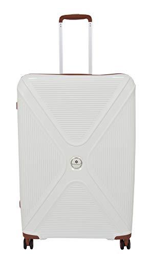Large Size Luxurious 4 Wheel Check-in Luggage Hard Shell TSA Lock Suitcase Bag A803 White