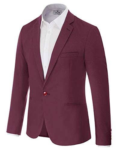 Men's Casual Suit Blazer Jackets Lightweight Sports Coats One Button M Wine Red