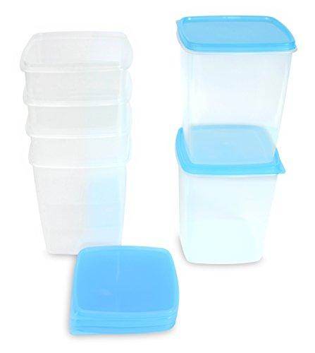 Kigima Tiefkühldose 1,5l quadratisch 13x13x15,2 cm 6er Set hellblau