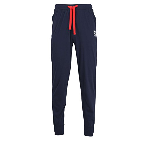 TOM TAILOR Herren Lange-Hose, Schlafhose, Pyjama-Hose - Baumwolle, Single Jersey, blau, Uni, mit Bündchen 52