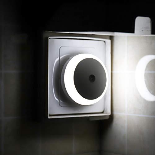 LED Nachtlicht Steckdose, Dämmerungssensor, Tageslicht, Automatisch ON OFF, Energiesparende LED, 2er Pack