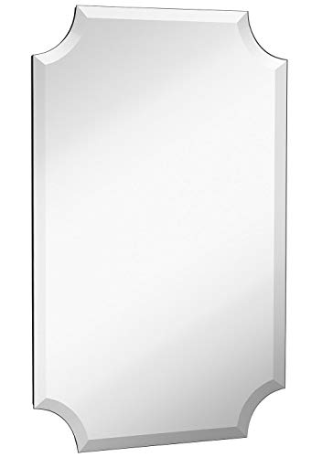 Beveled Scalloped Edge Rectangular Wall Mirror | 1 inch Bevel Curved Corners -