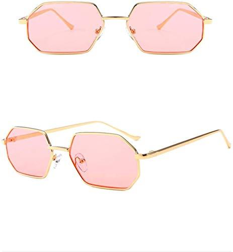 HNsusa Gafas de sol Trend Polygon Marco de metal Gafas de sol Mujeres Hombres Gafas vintage Diseñador de lujo Moda Sombras Gafas-4