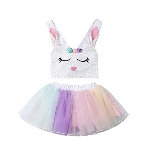 Lzxuan Conjunto de Ropa para bebé con tutú de arcoíris y Playera sin Mangas con Conejo Hermana, para niñas, White Big Sister, 1-2 Años