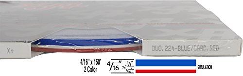 "Universal Duo-Tone 0204224 - Auto Customizing 2 Color Dual Pinstripe - 4/16' x 150' (1/8"" Stripe, 1/16' Gap, Then 1/16"" Stripe) - 224- Blue/Cardinal Red"