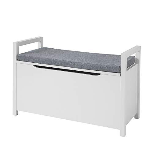 SoBuy FSR76-W Truhenbank mit Sitzfläche Sitzbank mit Stauraum Sitztruhe mit Klappe Spieltruhe Belastbarkeit 120 kg Weiß BHT ca.: 86x54x38cm