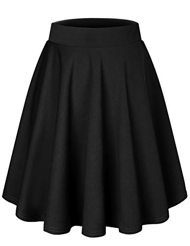 bridesmay Damenrock Basic Solid Vielseitige Dehnbaren Informell Minikleid Retro Mini Rock Faltenrock Midi-Black XL