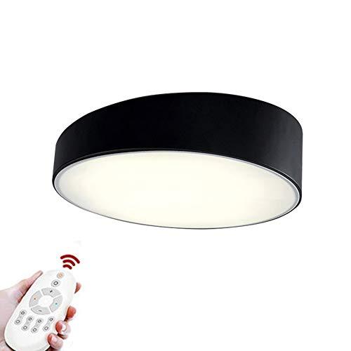 Redondo Lámpara De Techo Led 32w, Montaje Empotrado 20' Plafón Lámpara Moderna Simplicidad Dormitorio Salón Restaurante Pasillo Negro-50x50x13cm Oscurecimiento