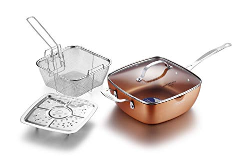 LOVE PAN 9.5 Inch Copper Nonstick Square Deep Fry Pan with Chip Frying Basket Steamer Rack and Glass Lid Induction Nonstick Copper Frying Pan For Oven Roast Bake Grill Steam and Braise 4 Piece