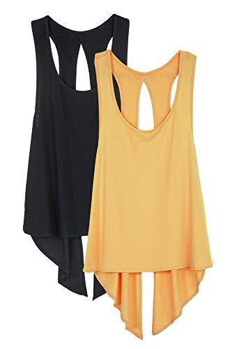 icyzone Damen Tank Tops Casual Kurzarm Rückenfrei Shirts für Yoga Workout (M, Black/Dandelion)