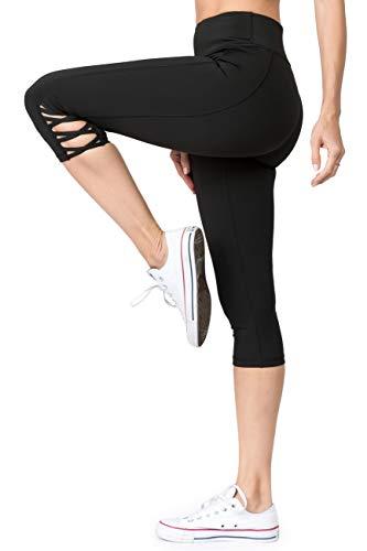 YELETE Women's Active Lattice Capri Cutout Workout Leggings Black Color Size L