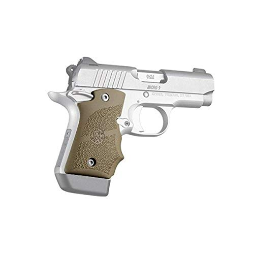 Hogue 39083 Kimber Micro 9 Ambi Safety Rubber Grip with Finger Grooves Flat Dark Earth Gun Grips, One Size