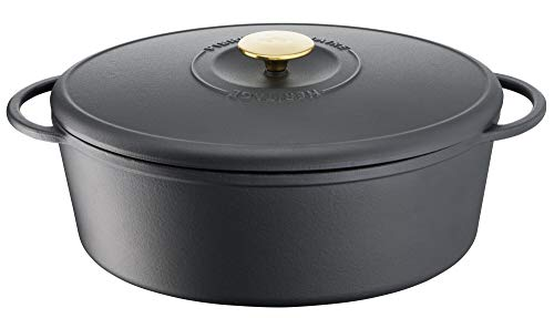 Tefal Heritage Cacerola Oval 34x26 cm, Hierro Fundido,7,2 litros, Tapa potenciadora de condensación, retención del Calor, Fuego Lento, guisos, caramelización, Apto para Todo Tipo de cocinas, Cast Iron