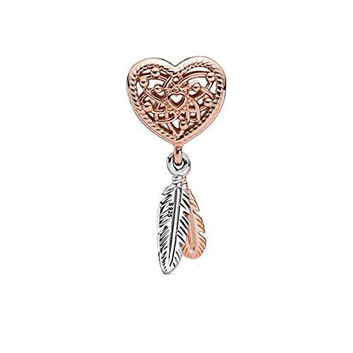 Pandora 925 Jewelry Bracelet Natural Autumn Sterling Silveropenwork Heart Two Feathers Dreamcatcher Beads Fits Original Making Fashion Women Diy Gift