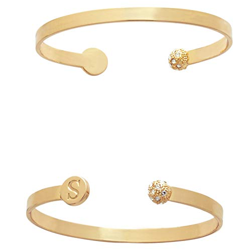 Mud Pie Women's Initial Pave Bracelet S, Gold, 14 1/2