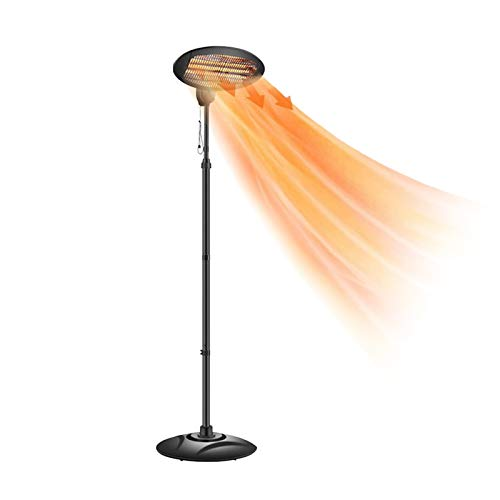 Kracie Outdoor Heater Electric Patio Heater- 500W/1500W 3 Adjustable Power Heater for Outdoor use Super Quiet Warm Vertical Electric Heater for Big Room Backyard