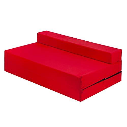 Cama doble Z roja para cama plegable con funda extraíble con cremallera, sofá para futón para adultos y niños