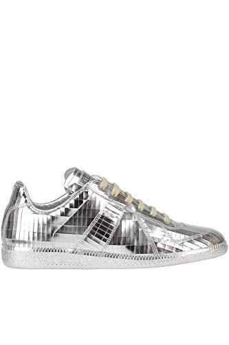 Maison Margiela Metallic Effect Leather Sneakers Woman Silver 38.5 IT
