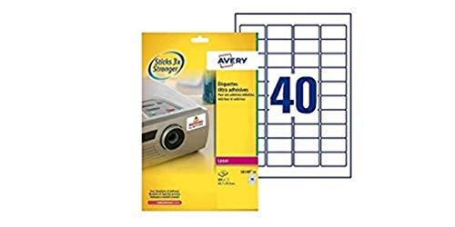 Avery España L6140-20 Caja de 800 etiquetas blanca de poliéster súper adherentes