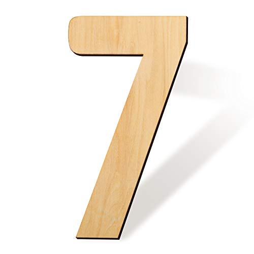 LUTER 43cm Madera En Blanco Número 7 Tablero De Letrero De Rebanadas De Madera Sin Terminar Para Proyectos De Manualidades Letrero Para El Hogar Decoración De Pared (7)
