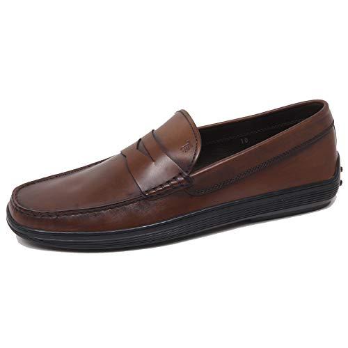 F0302 Mocassino Uomo Brown Tod'S Scarpe Vintage Effect Loafer Shoe Man [6.5]