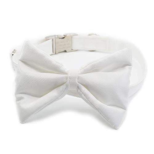 doguna Fliege für Hunde/Hundefliege aus Satin mit verstellbarem Hundehalsband für Weihnachten, Hochzeiten und Feiern, Weiß, Größe L